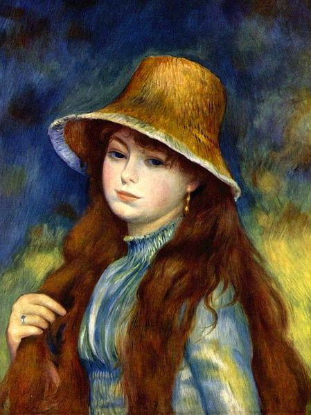 auguste renoir jeune fille au chapeau de paille tableau de peintures et peinture de. Black Bedroom Furniture Sets. Home Design Ideas