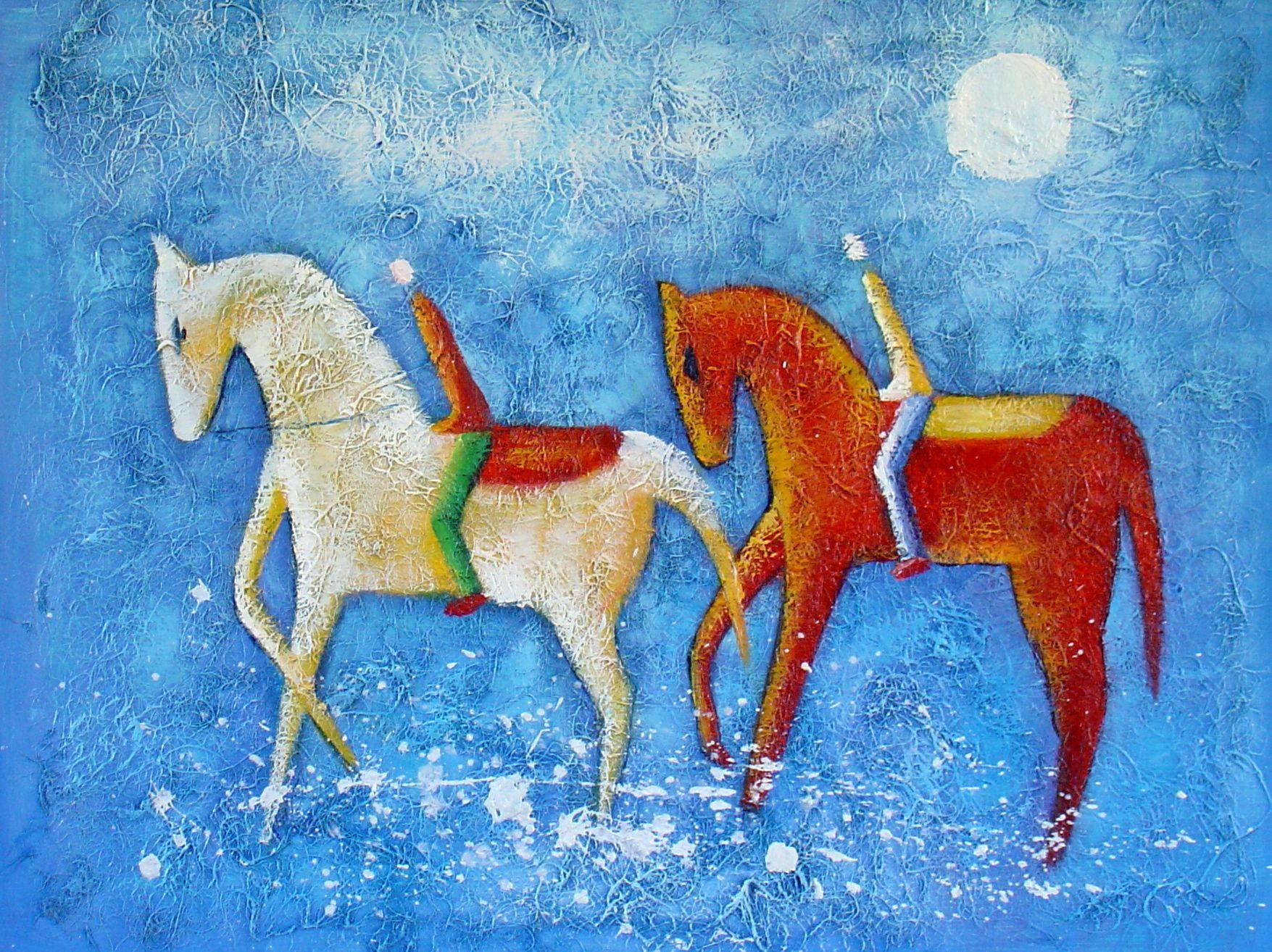 Animaux chevaux po tiques tableau de et peinture de for Peinture de qualite