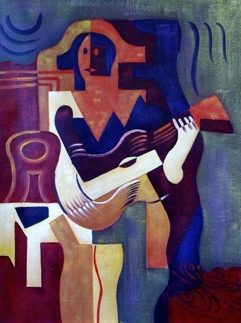 tableau guitare abstrait
