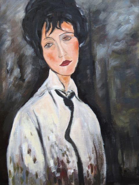 Bien connu Modigliani, Femme à la cravate noire : tableau de GRANDS PEINTRES  HB24