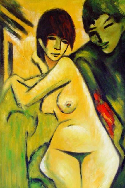 Artiste utilisant de grands groupes de nus