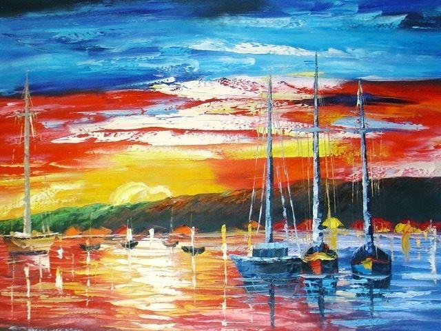 Mers Et Océans Voiliers Soleil Couchant Tableau De Peintures Et