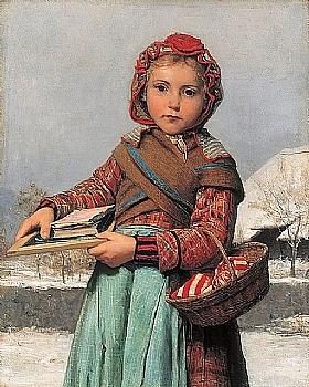 Albert Anker, Ecoliere avec ardoise et panier de couture - GRANDS PEINTRES / Anker