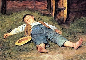 Albert Anker, Garçon dormant dans les foins - GRANDS PEINTRES / Anker