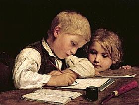 Albert Anker, Garçon écrivant devant sa soeur - GRANDS PEINTRES / Anker