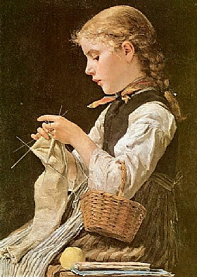 Albert Anker, Jeune fille tricotant - GRANDS PEINTRES / Anker
