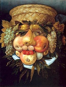 Giuseppe Arcimboldo, Tête à corbeille de fruits - GRANDS PEINTRES / Arcimboldo