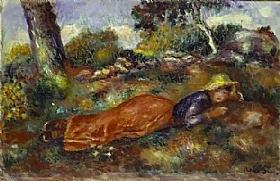 Auguste Renoir, Jeune fille couchée sur l'herbe - GRANDS PEINTRES / Renoir