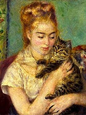 Auguste Renoir, La fille au chat-GRANDS PEINTRES-Renoir