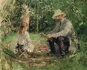 Berthe Morisot, Eugène Manet et sa fille - GRANDS PEINTRES / Morisot