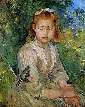 Berthe Morisot, Petite fille avec un oiseau - GRANDS PEINTRES / Morisot