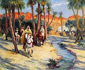 Arthur Frederick Bridgman, A cheval dans l'oasis - GRANDS PEINTRES / Bridgman