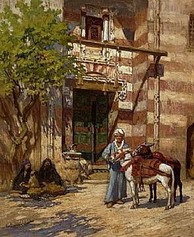 Arthur Frederick Bridgman, Devant la mosquée - GRANDS PEINTRES / Bridgman