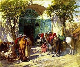 Arthur Frederick Bridgman, A l'entrée de la mosquée - GRANDS PEINTRES / Bridgman