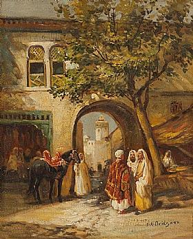 Arthur frederick bridgman a l entr e de la ville for Artistes peintres connus