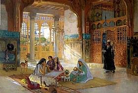 Arthur Frederick Bridgman, Intérieur de la mosquée - GRANDS PEINTRES / Bridgman