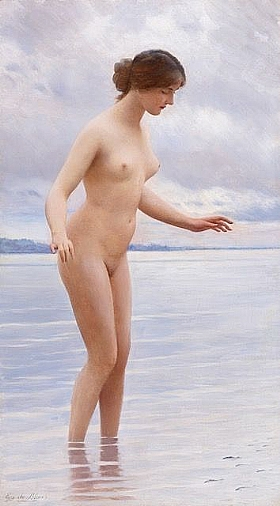 Eugène de Blaas, Dans l'eau - GRANDS PEINTRES / Blaas