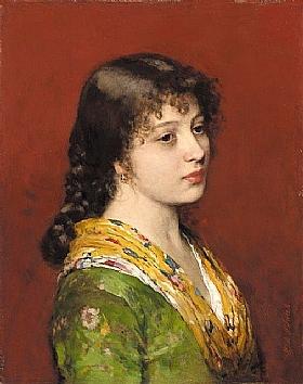 Eugène de Blaas, femme au foulard jaune - GRANDS PEINTRES / Blaas