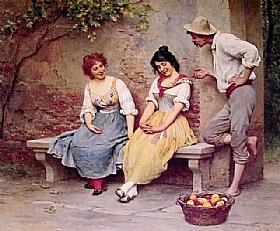 Eugène de Blaas, Le flirt - GRANDS PEINTRES / Blaas