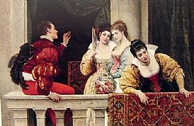 Eugène de Blaas, Sur le balcon - GRANDS PEINTRES / Blaas