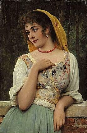 Eugène de Blaas, Beauté dans ses pensées - GRANDS PEINTRES / Blaas
