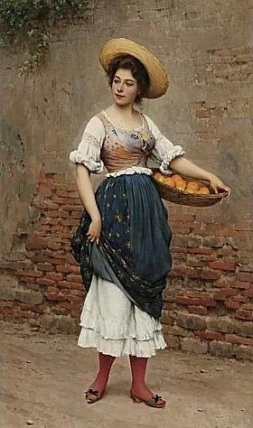 Eugène de Blaas, Vendeuse d'oranges et de citrons - GRANDS PEINTRES / Blaas