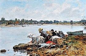Eugène Boudin, Laveuses au bord de la Touques - GRANDS PEINTRES / Boudin