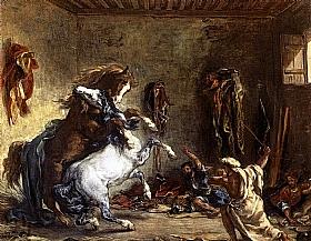 Eugène Delacroix, Chevaux arabes se battant - GRANDS PEINTRES / Delacroix