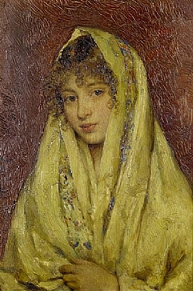 Eugène de Blaas, Femme au voile jaune - GRANDS PEINTRES / Blaas