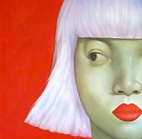 Sensualité et Charme, femme platine fond rouge - PEINTURES / Tableaux Figuratifs