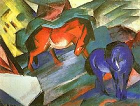 Franz Marc, Cheval rouge et cheval bleu - GRANDS PEINTRES / Marc