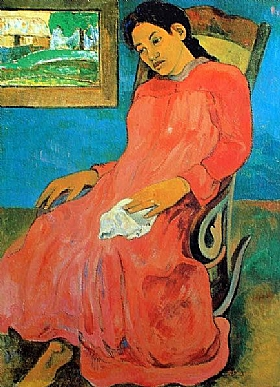 Paul Gauguin, Femme robe rouge boudeuse - GRANDS PEINTRES / Gauguin