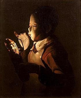 Georges de La Tour, Le souffleur de lampe - GRANDS PEINTRES / De la Tour