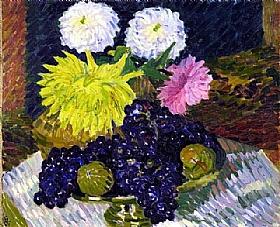 Giovanni Giacometti, Dahlias et raisins - GRANDS PEINTRES / Giacometti