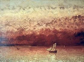 Gustave Courbet, Le lac Léman au soleil couchant - GRANDS PEINTRES / Courbet