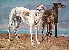 Gustave Courbet, Les lévriers - GRANDS PEINTRES / Courbet