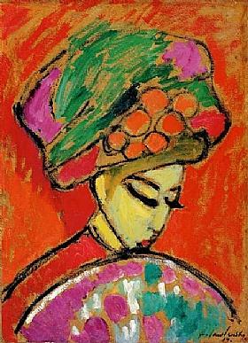 Alexej von Jawlensky, Jeune fille au chapeau fleuri - GRANDS PEINTRES / Jawlensky