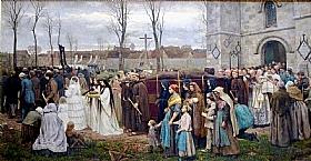 Jules Breton, Plantation d'un calvaire - GRANDS PEINTRES / Breton