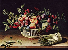 Louise Moillon, Fruits et botte d'asperges - GRANDS PEINTRES / Moillon