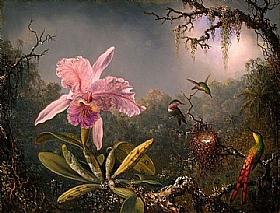Orchid�e et trois colibris du Br�sil, Martin Johnson Heade - Grands Peintres / Heade