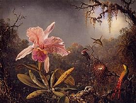 Martin Johnson Heade, Orchidée et colibris du Brésil - GRANDS PEINTRES / Heade