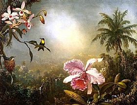 Deux colibris et un papillon pr�s d�une orchid�e, Martin Johnson Heade - Grands Peintres / Heade