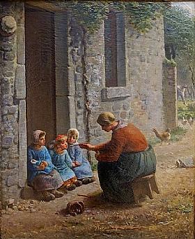 Jean-François Millet, La becquée - GRANDS PEINTRES / Millet
