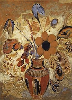 Odilon Redon, Fleurs dans un vase étrusque - GRANDS PEINTRES / Redon