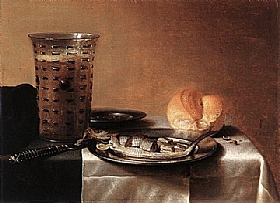 Pieter Claesz, Nature morte au hareng et roemer - GRANDS PEINTRES / Claesz