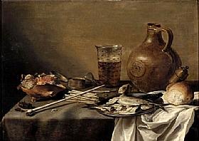 Pieter Claesz, Nature morte au verre de bière - GRANDS PEINTRES / Claesz