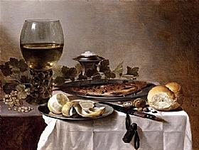 Pieter Claesz, Nature morte au hareng et vin - GRANDS PEINTRES / Claesz