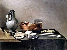 Pieter Claesz, Pipes à Tabac et un brasero - GRANDS PEINTRES / Claesz