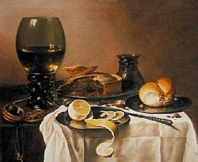 Pieter Claesz, Nature morte avec huitres et vin - GRANDS PEINTRES / Claesz