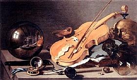 Pieter Claesz, Vanité violons et boule de cristal - GRANDS PEINTRES / Claesz